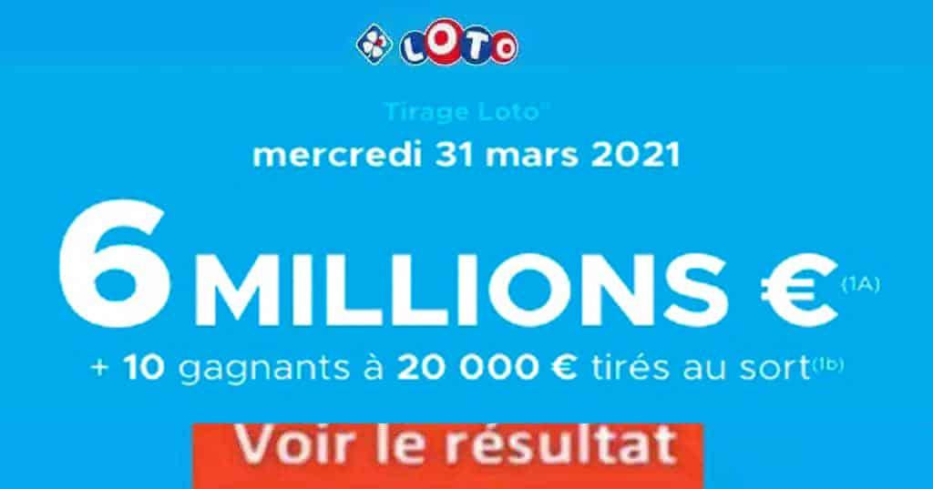 Resultat LOTO 31 Mars 2021 joker+ et codes loto gagnant