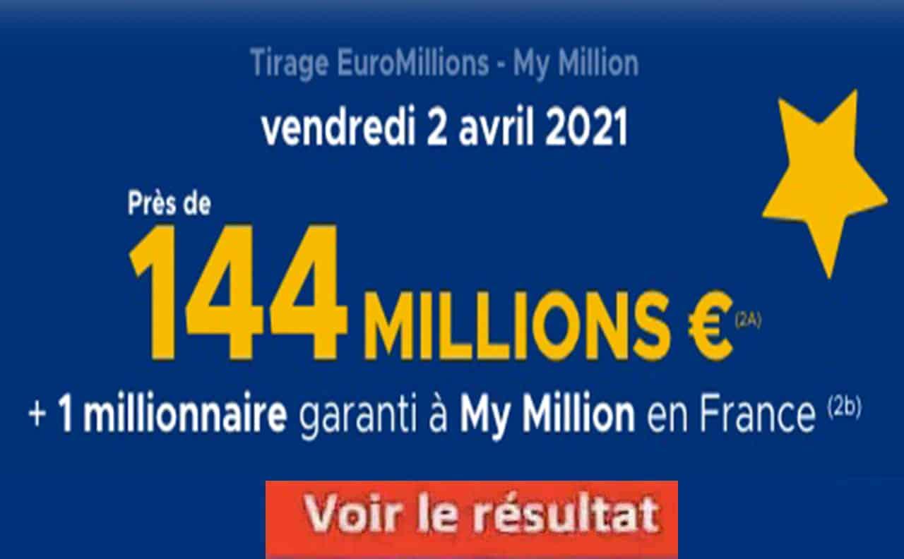 Resultat Euromillion 2 avril 2021