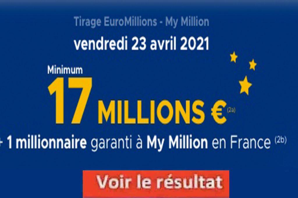 Resultat fdj Euromillions 23 avril 2021
