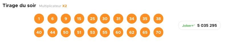 Resultat KENO 27 avril 2021 Tirage soir