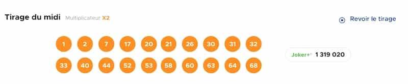 Resultat KENO 30 avril 2021 Tirage midi