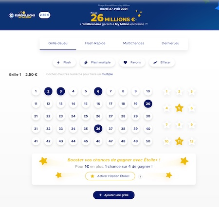 Ticket Euromillion valide