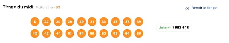Resultat KENO 26 mai 2021 Tirage soir