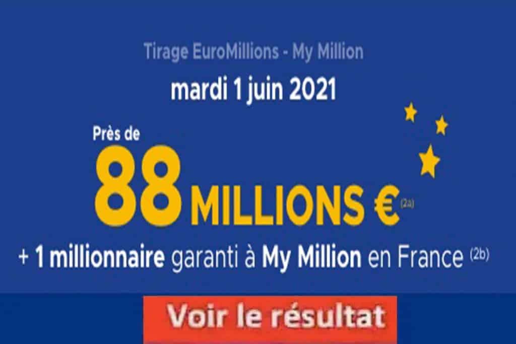 Resultat Euromillion 1 juin 2021