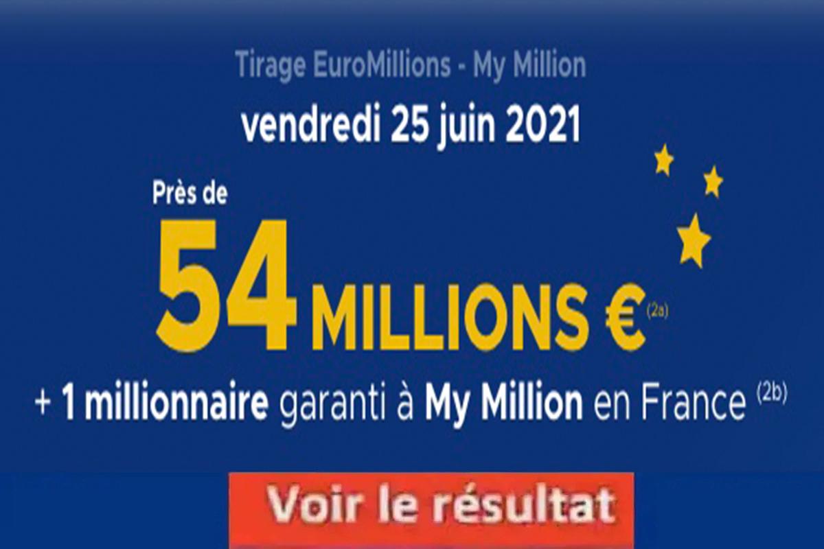Resultat Euromillion 25 juin 2021