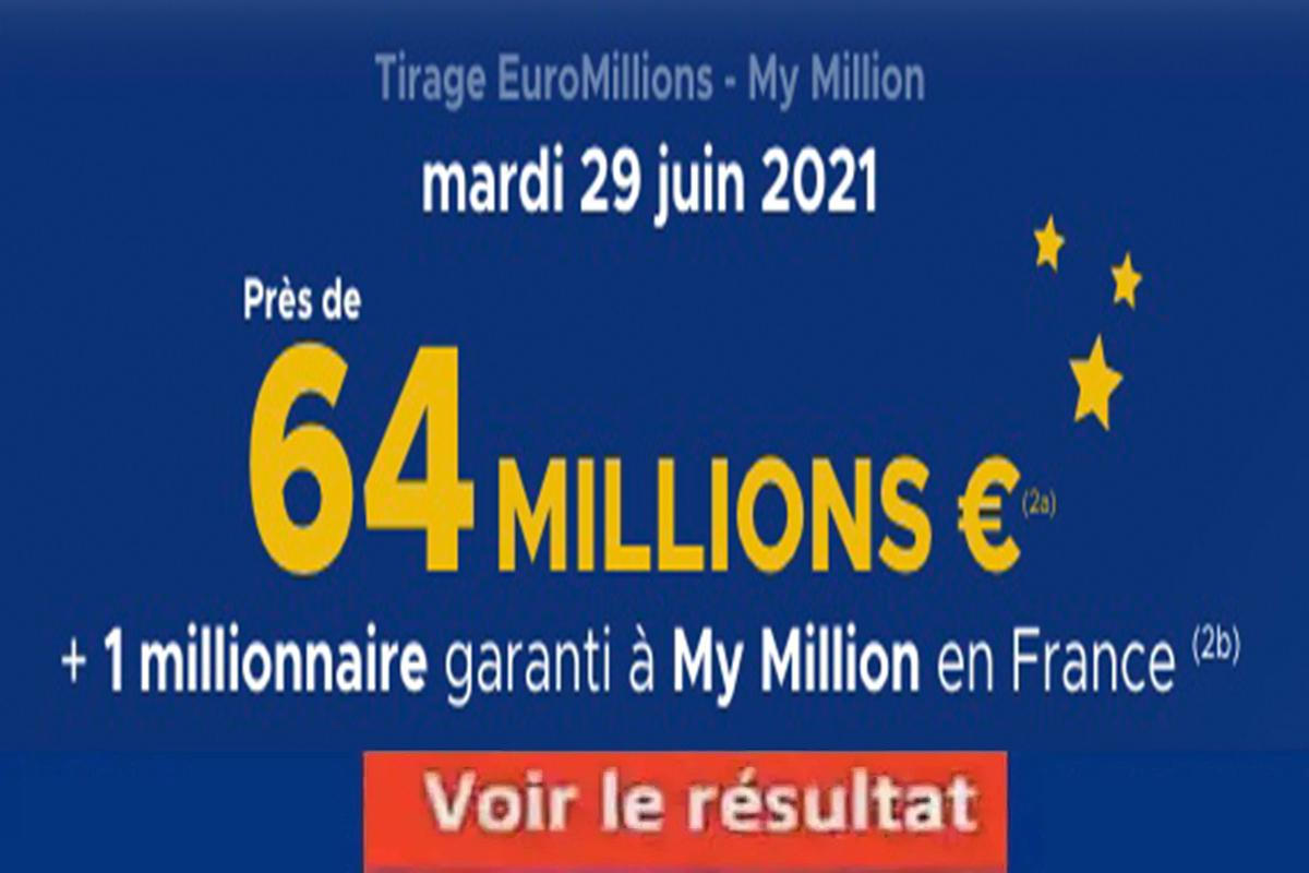 Resultat Euromillion 29 juin 2021