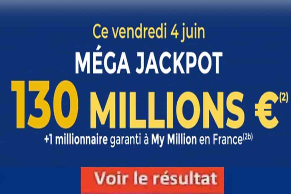 Resultat Euromillion Mega Jackpot 4 juin 2021