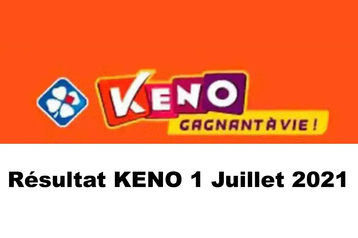 Resultat KENO 1 juillet 2021 tirage midi et soir