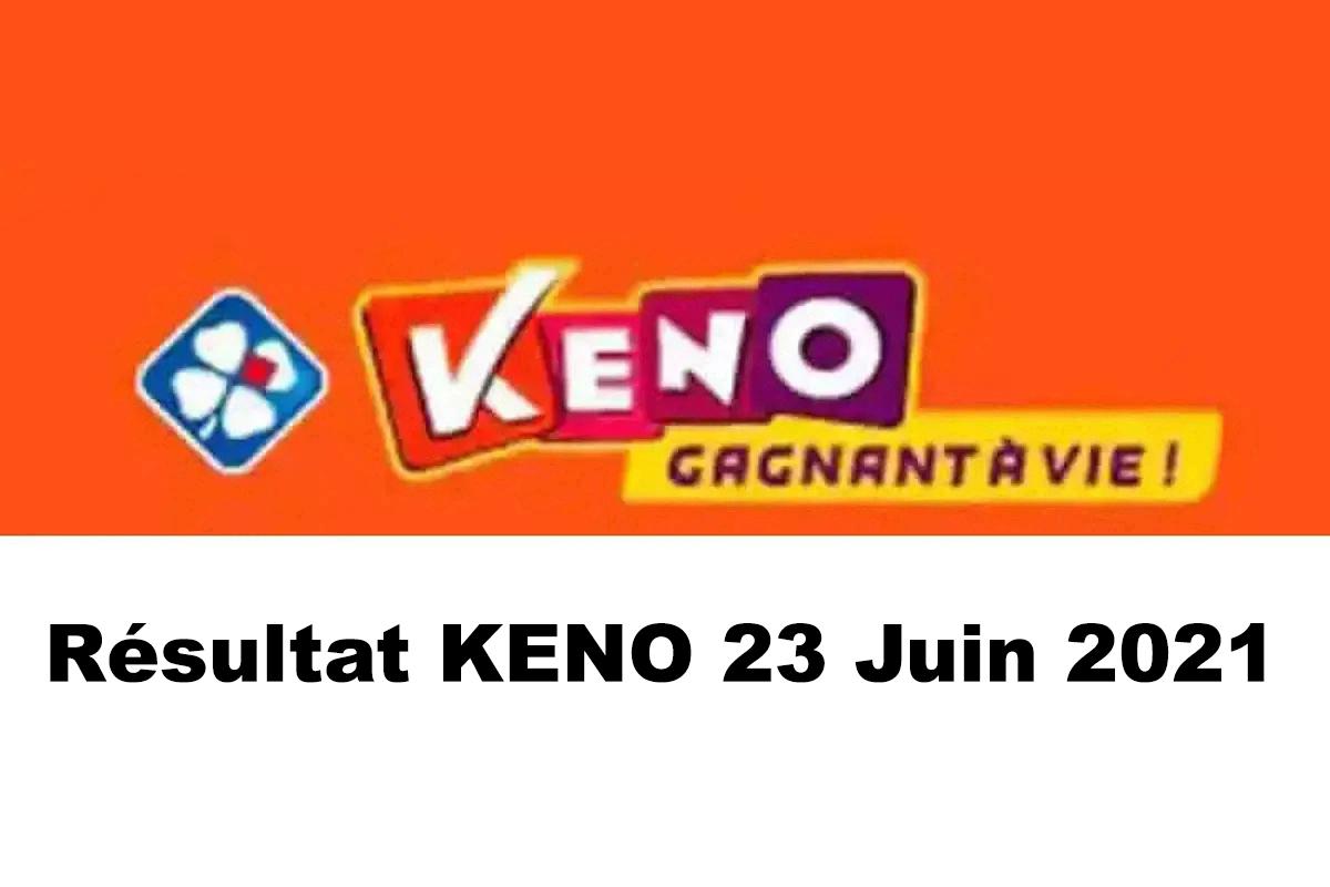 Resultat KENO 23 Juin 2021 tirage midi et soir