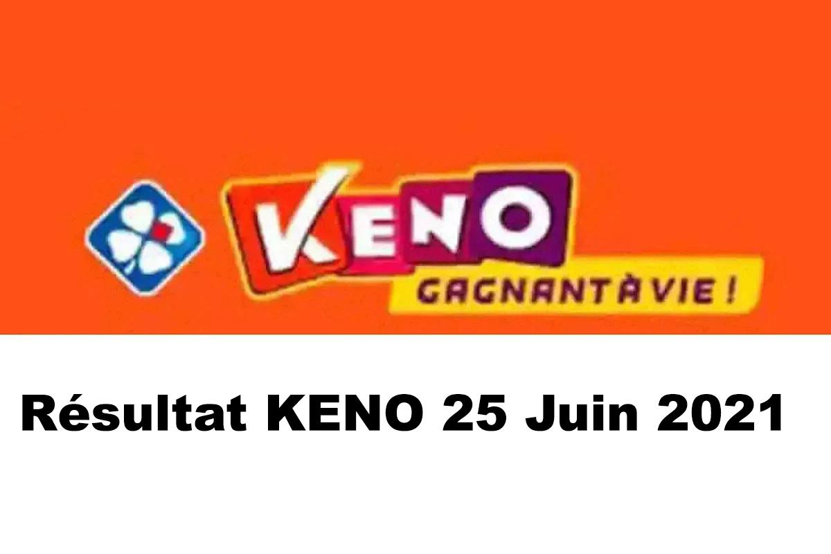 Resultat KENO 25 Juin 2021 tirage midi et soir