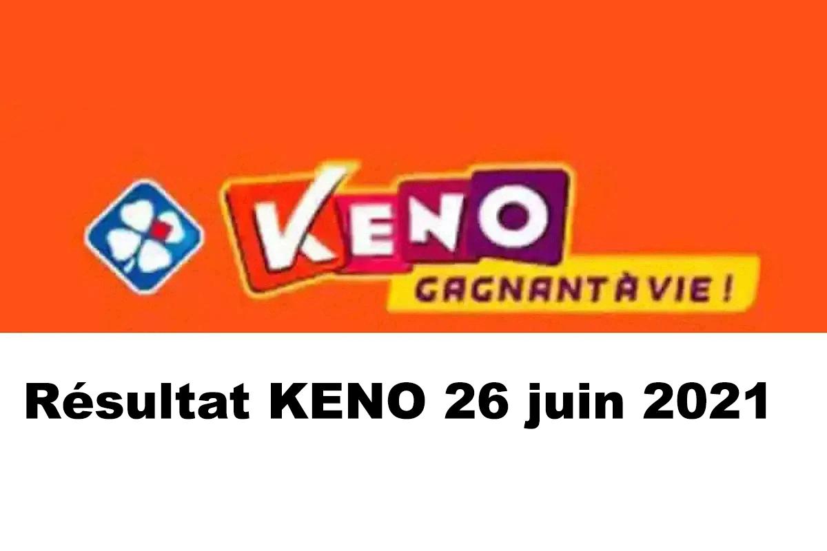 Resultat KENO 26 Juin 2021 tirage midi et soir