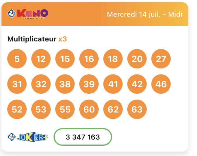 Résultat Keno 14 juillet 2021 tirage midi