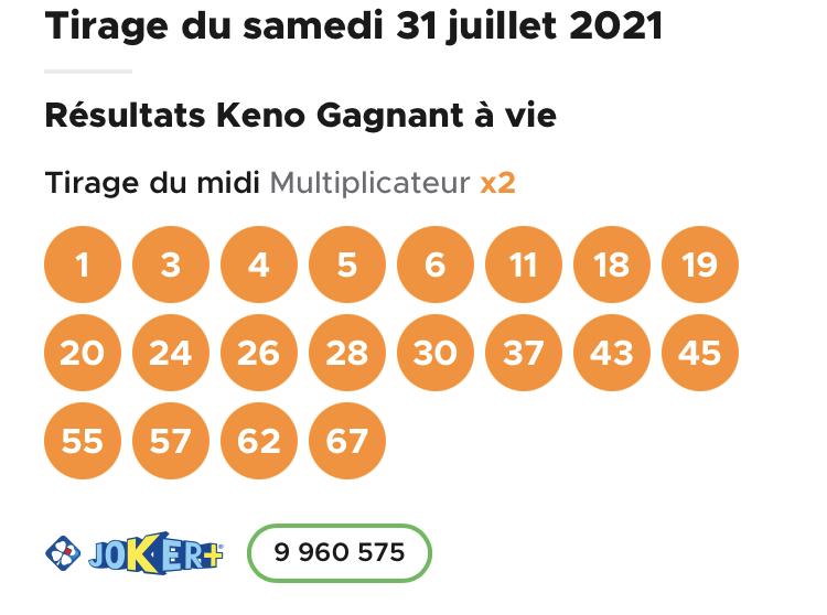Résultat Keno 31 juillet 2021 tirage midi
