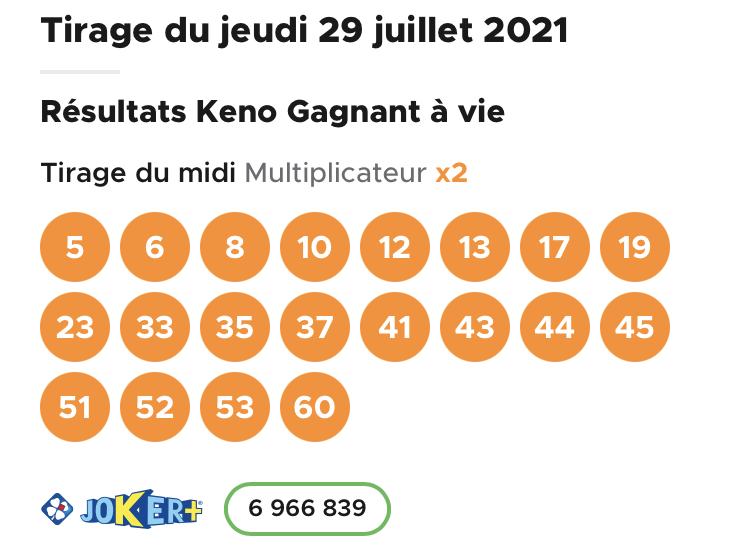 Résultat Keno 29 juillet 2021 tirage midi