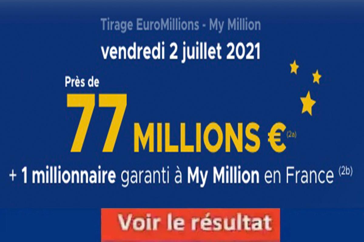 Resultat Euromillion 2 juillet 2021