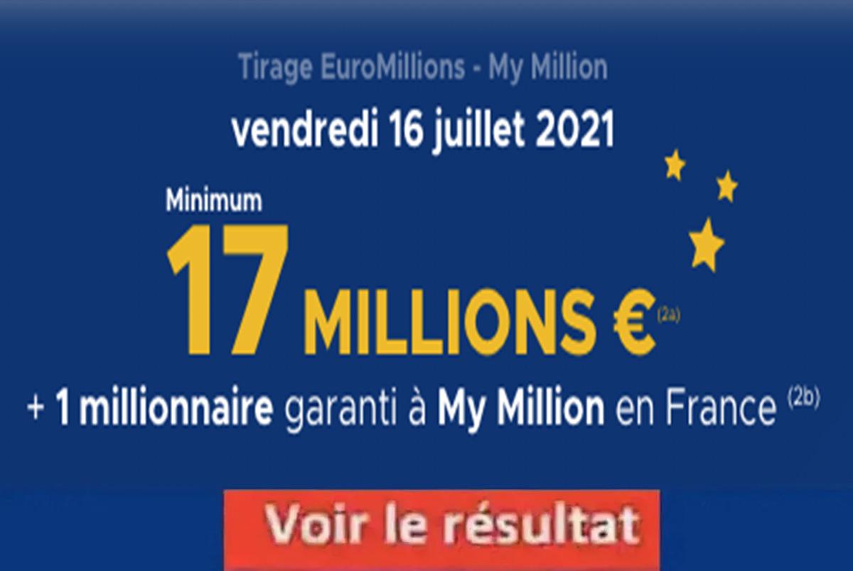 Resultat Euromillions 16 juillet 2021