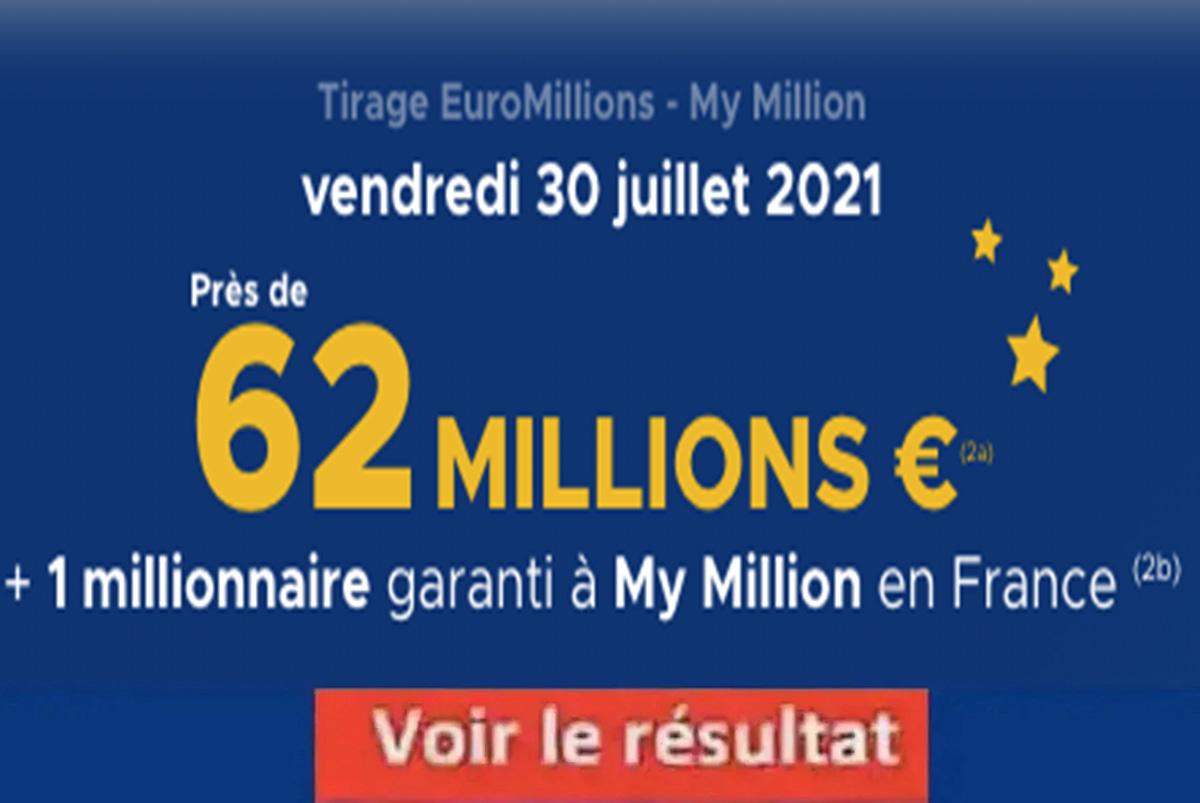 Resultat Euromillions 30 juillet 2021