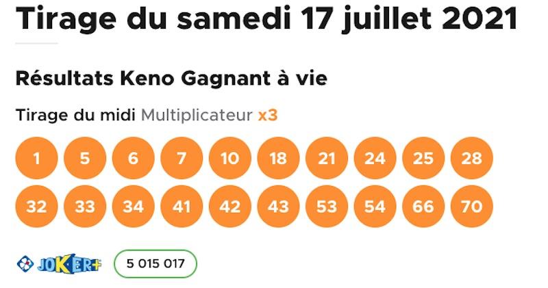 Resultat KENO 17 Juillet 2021 tirage midi