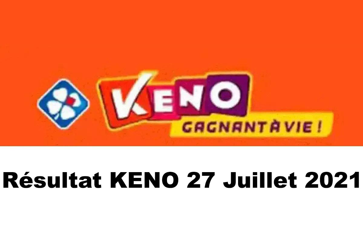 Resultat KENO 27 juillet 2021 tirage midi et soir