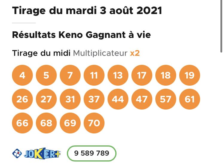 Résultat Keno 3 août 2021