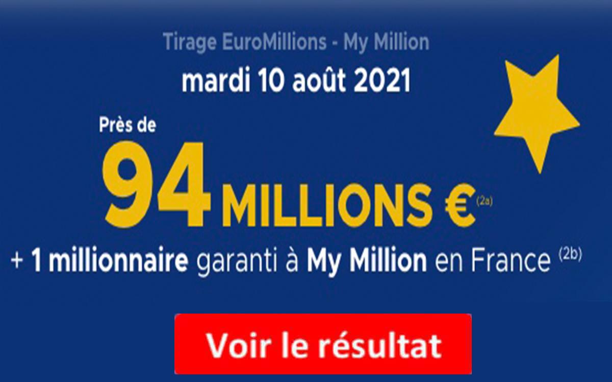 résultat euromillions 10 aout 2021