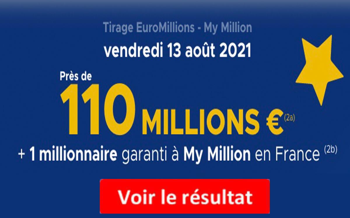 résultat euromillions 13 aout 2021