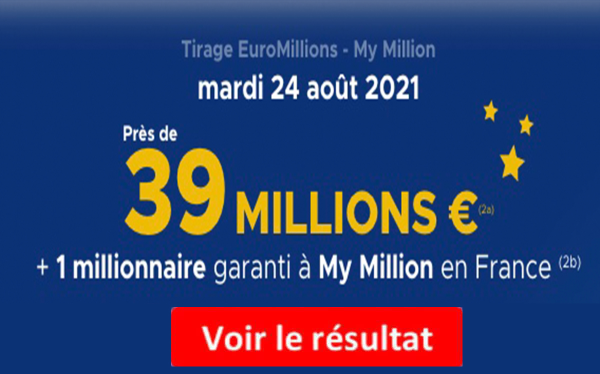 Resultat Euromillions 24 aout 2021