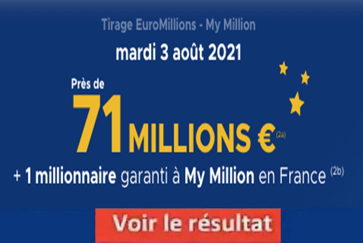 Résultat Euromillions et My Million tirage FDJ 3 aout 2021