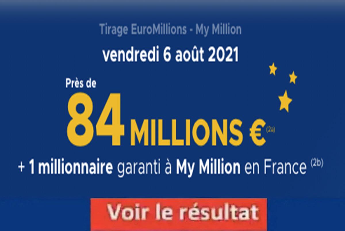 Résultat Euromillions et My Million tirage FDJ 6 aout 2021