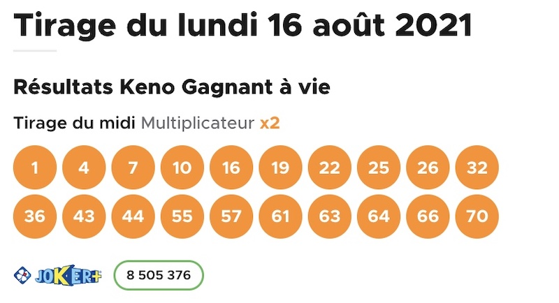 Résultat Keno 16 août 2021 tirage midi
