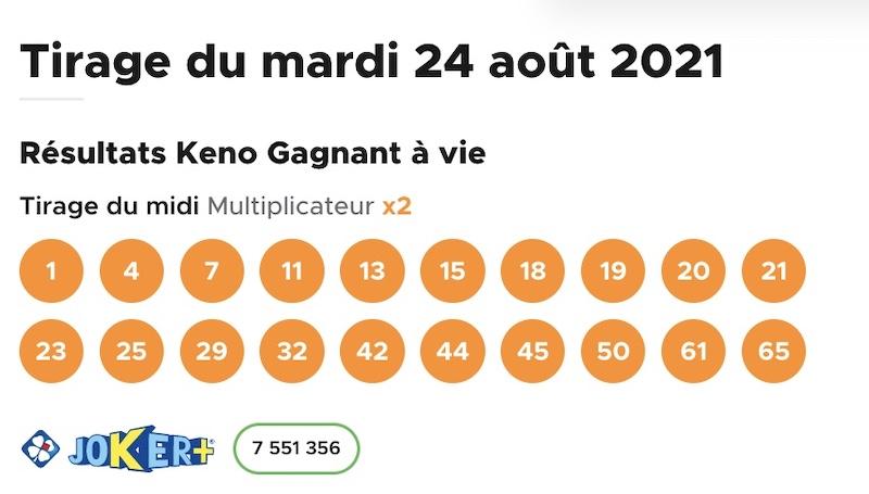 Resultat KENO 24 aout 2021 tirage midi