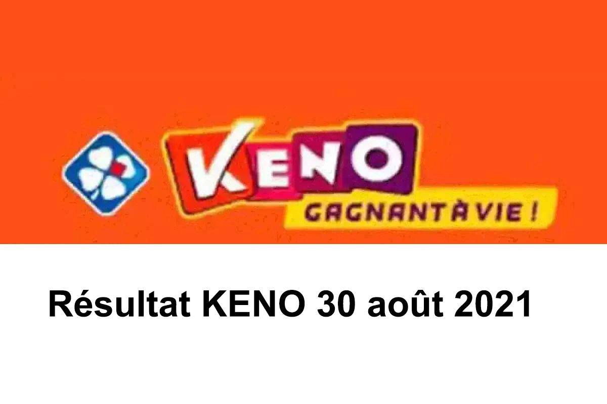 Resultat KENO 30 Aout 2021 tirage midi et soir