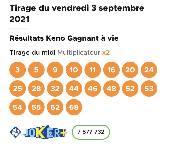 Résultat Keno 3 septembre 2021 tirage midi