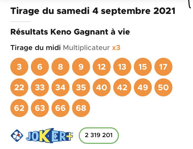 Résultat Keno 4 septembre 2021 tirage midi