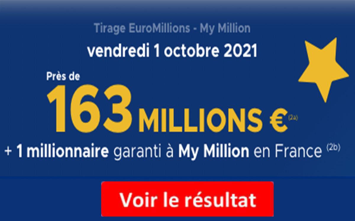 Resultat Euromillions 1 octobre 2021