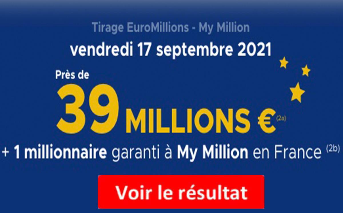 Resultat Euromillions 17 septembre 2021