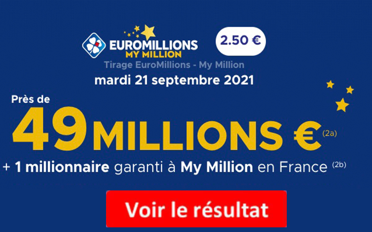 Resultat Euromillions 21 septembre 2021