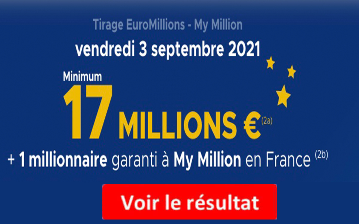 Resultat Euromillions 3 septembre 2021