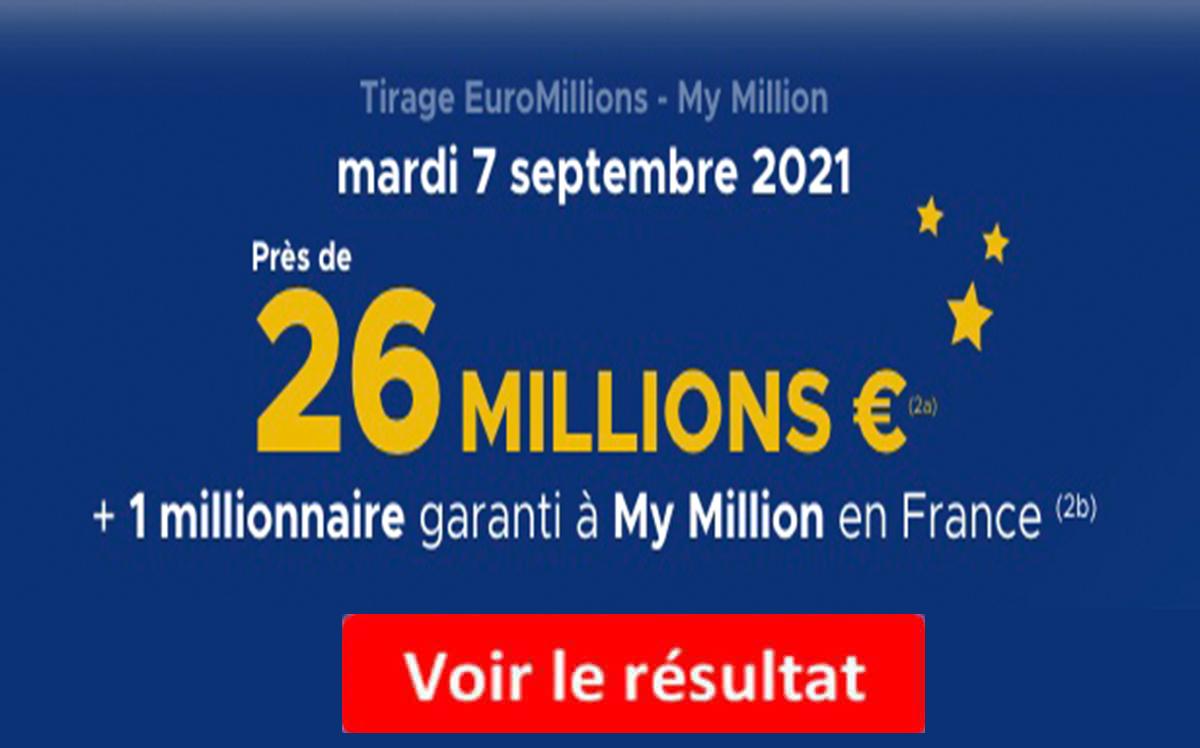Resultat Euromillions 7 septembre 2021
