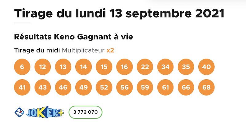 Resultat KENO 13 Septembre 2021 tirage midi