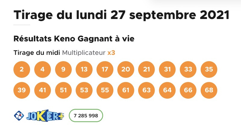Résultat Keno 27 septembre 2021 tirage midi