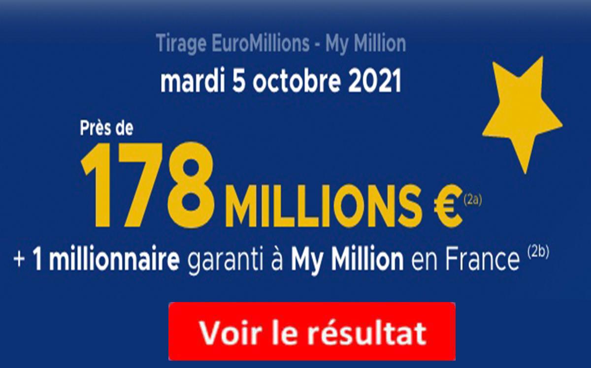 Resultat Euromillions 5 octobre 2021