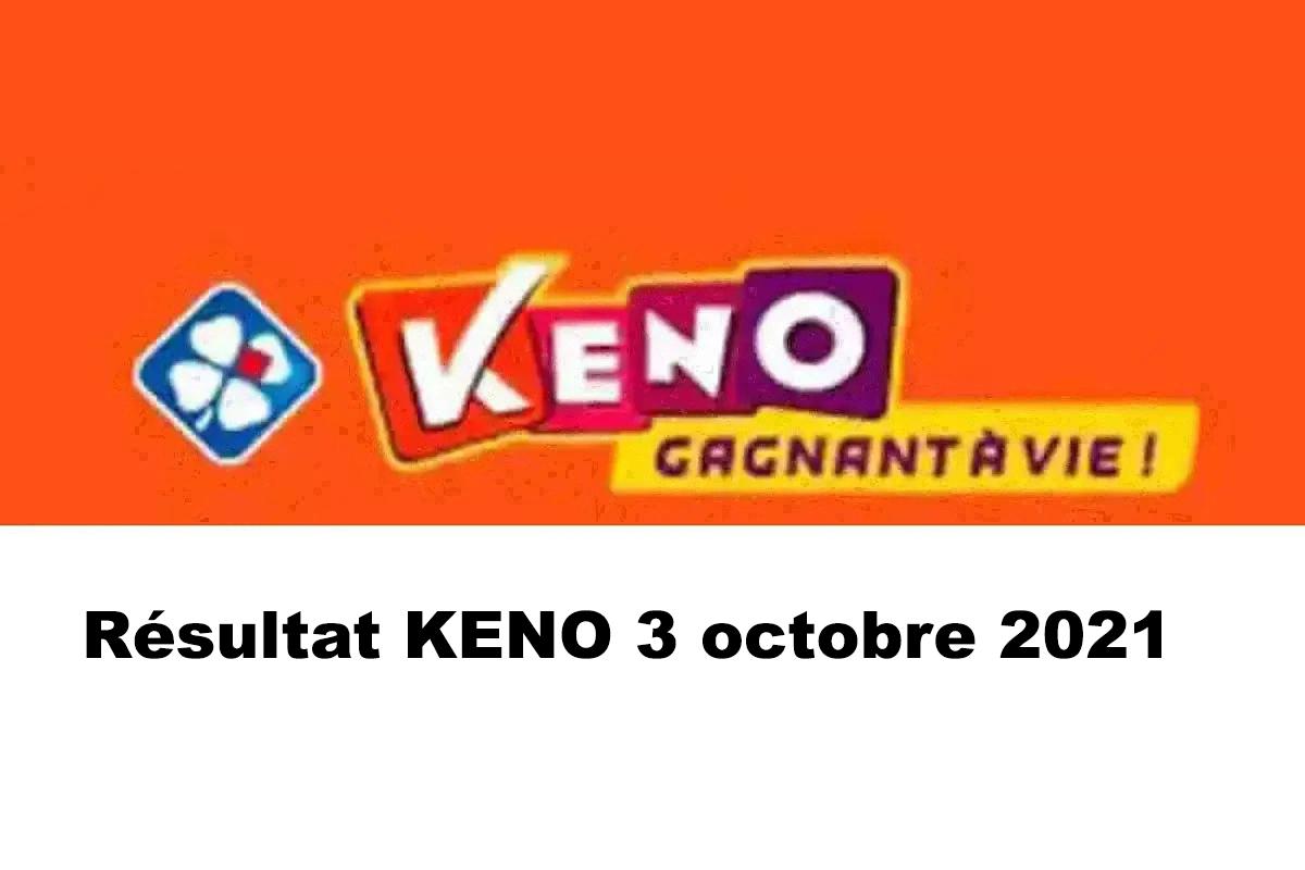 Resultat KENO 3 octobre 2021 tirage midi et soir
